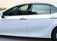 Оригинальные Ветровики/Дефлекторы окон с металлическим хромом на Toyota Camry 70/Тойота камри 70 2018 -, фото 1