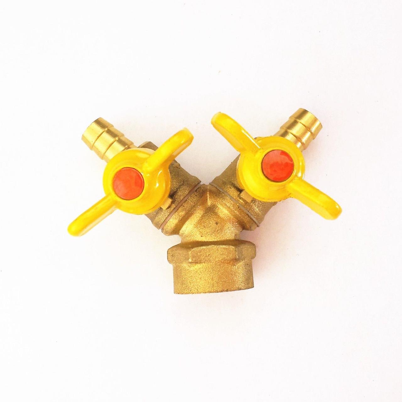 Кран газовый двой штуцер - 1/2 внутренняя резьба