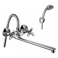 Смеситель двуручный для ванной c плоским изливом 350мм, хром Rossinka Q02-80