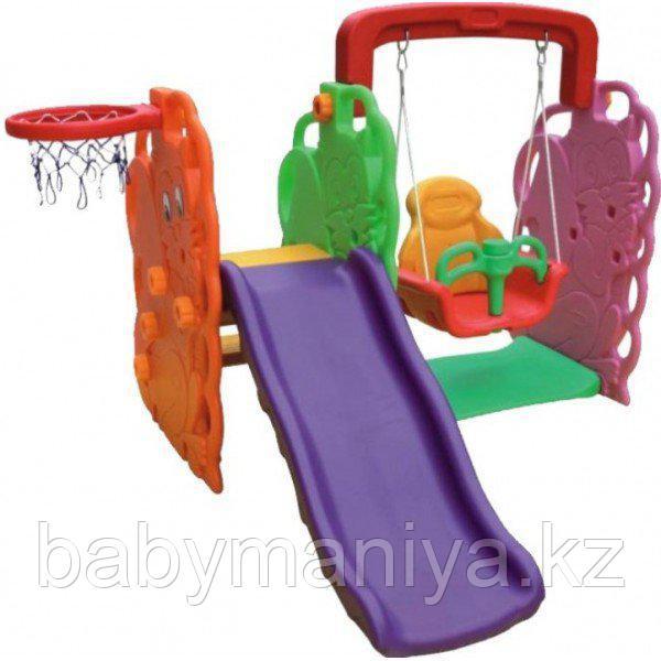 Игровой комплекс  QIAOQIAO ДЕРЕВО горка+качели+баскет. кольцо