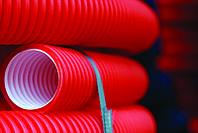 Труба гофр.двустенная ПНД/ПВД d90 красная (50м), фото 1