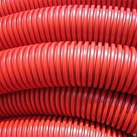 Труба гофр.двустенная ПНД/ПВД d110 красная жесткая (6 м), фото 1