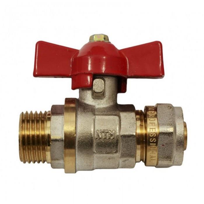 Кран фитинг для металлопластиковых труб КТМ - 20 *3/4 труба/наружный