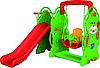 Детская горка с баскетбольным кольцом и качелей Мишка QC-05015