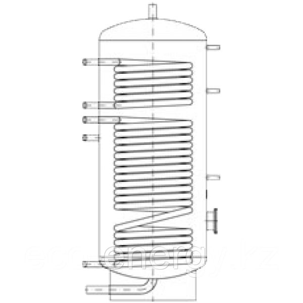 Бак ВТН-1, 200 л из нержавеющей стали, 2 теплообменника