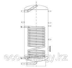 Бак ВТН-2, 500 л из нержавеющей стали, 1 теплообменник