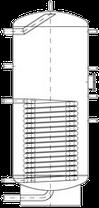 Бак ВТН-2, 1500 л из нержавеющей стали, 1 длинный теплообменник, промышленный