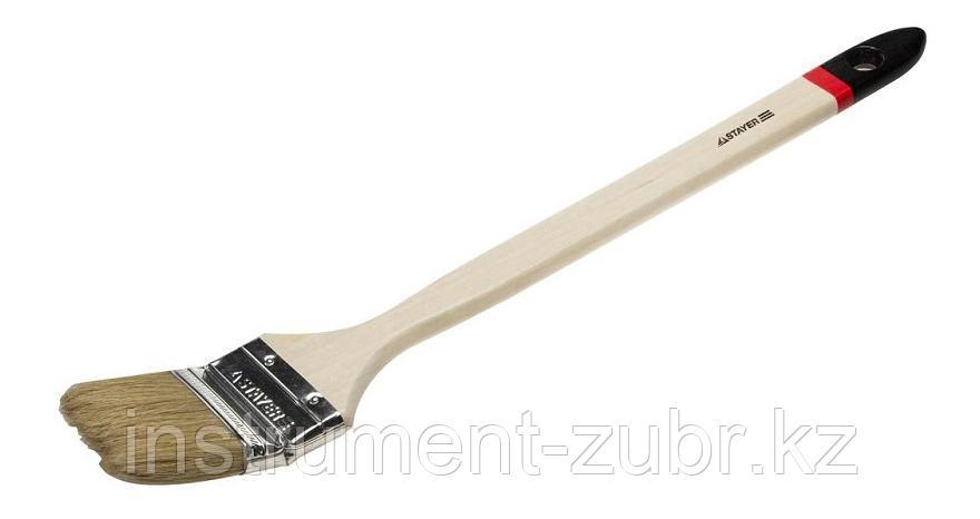 """Кисть STAYER """"MASTER"""" """"Универсал"""" радиаторная для всех видов ЛКМ, светлая натурал щетина, деревянная ручка, 2,5""""/63мм                                 , фото 2"""