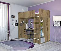 Кровать-чердак Polini Simple с письменным столом и шкафом дуб, фото 1