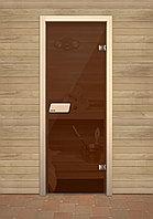 Банная дверь из стекла матовая бронзовая хром 690*1890 мм.