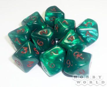Набор кубиков Dice&Games (10 кубов): Зеленые с красными цифрами