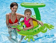 Детский надувной круг с навесом INTEX 56584 лягушка