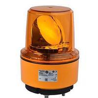 Оранжевый вращающийся сигнальный маячок, 24В пост. ток, IP67, монтажный диаметр 130мм.