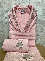 Махровый женский набор. Халат и 2 полотенца с жаккардом. Турция.