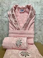 Подарки для женщин. Махровый женский набор. Халат и 2 полотенца с жаккардом. Турция.
