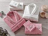 Махровый женский набор. Халат и 2 полотенца с жаккардом. Турция. , фото 2