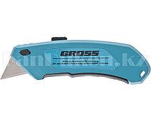 Нож 130 мм, алюм. корпус, выдв. трапец. лезвие 18 мм (SK-5), клипса для ремня + 4 лезвия// GROSS 78899 (002)