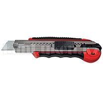 Нож, 18 мм, выдвижное лезвие, метал. направляющая, обрезиненная ручка + 5 лезвий// Matrix 78921 (002)
