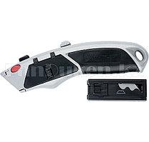 Нож, 18 мм, выдвижное трапециевидное лезвие, металлический корпус + 6 лезвий// Matrix 78924 (002)