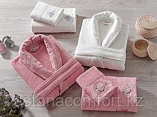 Женский махровый халат с полотенцами. Подарочный набор. Турция.
