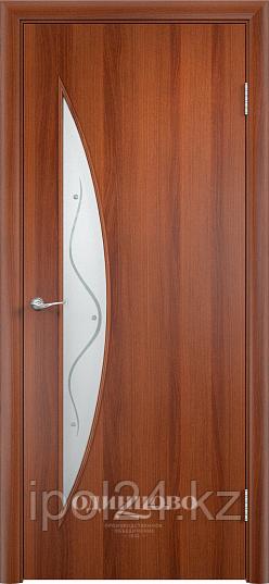 """Межкомнатная дверь Verda  Тип С-6 (остекленное """"САТИНАТО"""" Витраж/ Витраж 2)"""