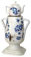 Электрочайник-самовар Добрыня 4.0 л DO-415 (белый/гжель) + фарфоровый заварочный чайник 1.0л