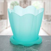 """Горшок для орхидей """"Эдельвейс"""" 1,5 л =16 см с поддоном, цвет зеленый прозрачный"""