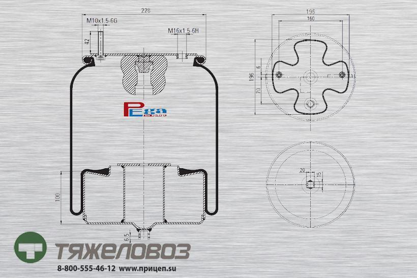 Пневморессора VOLVO (со стальным стаканом) 20452144 (P10.4762.C)