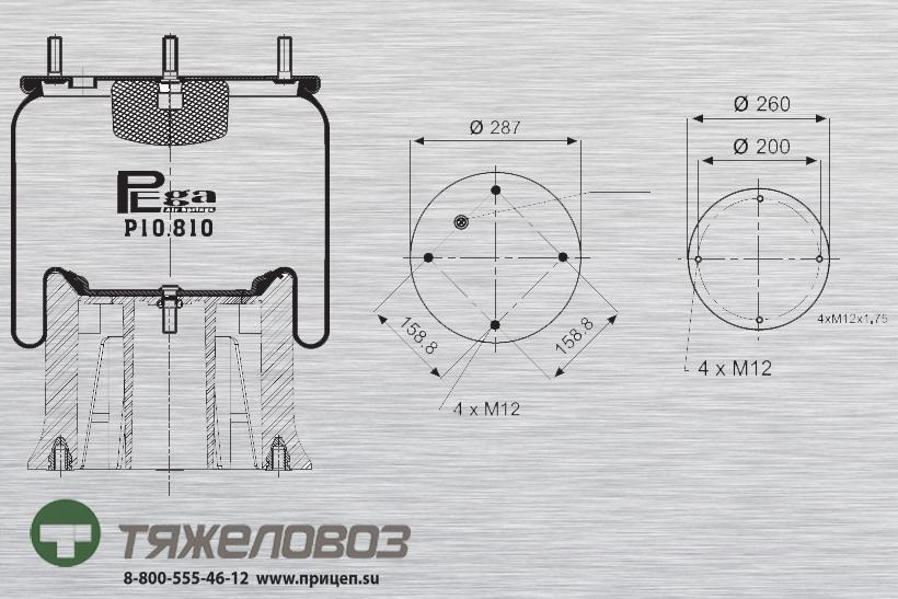 Пневморессора SAF,ROCKWELL (с пластиковым стаканом) 21208082 (P10.810.CP)