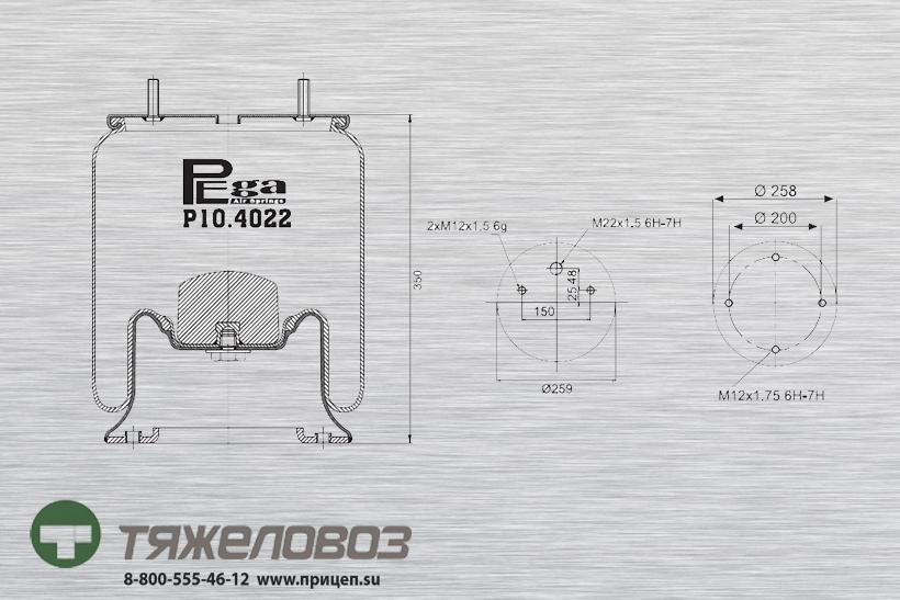 Пневморессора SAF (со стальным стаканом) 3229002900 (P10.4022.C03)