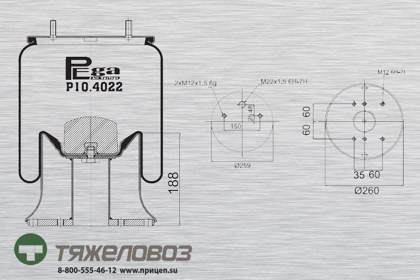 Пневморессора SAF (со стальным стаканом) P10.4022.C02