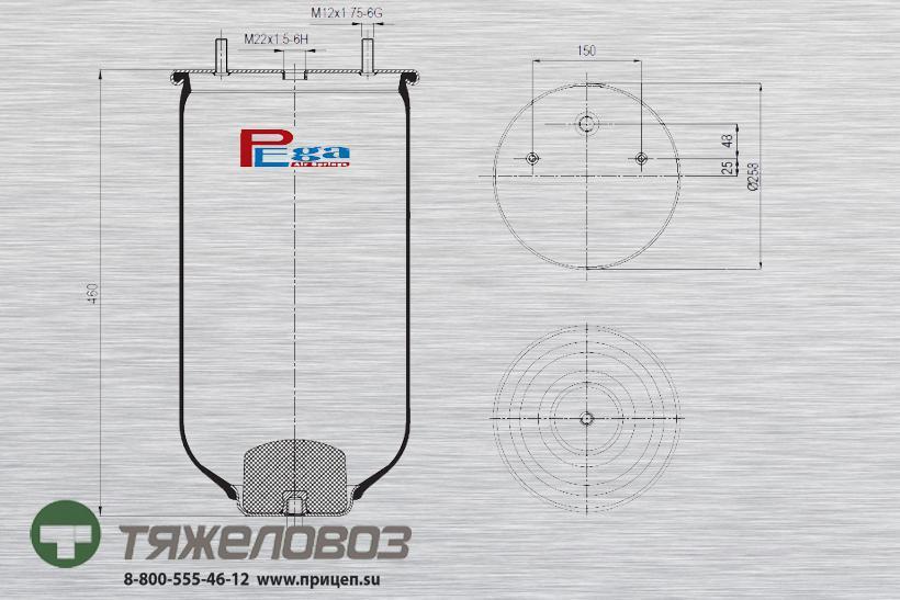 Пневморессора SAF (без стакана) P10.2619.S