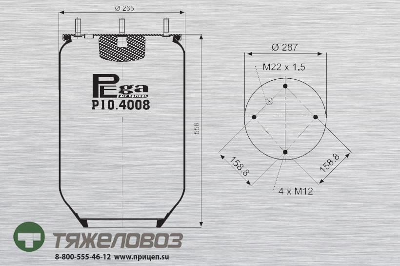 Пневморессора SAF (без стакана) 21221349 (P10.4008.S01)