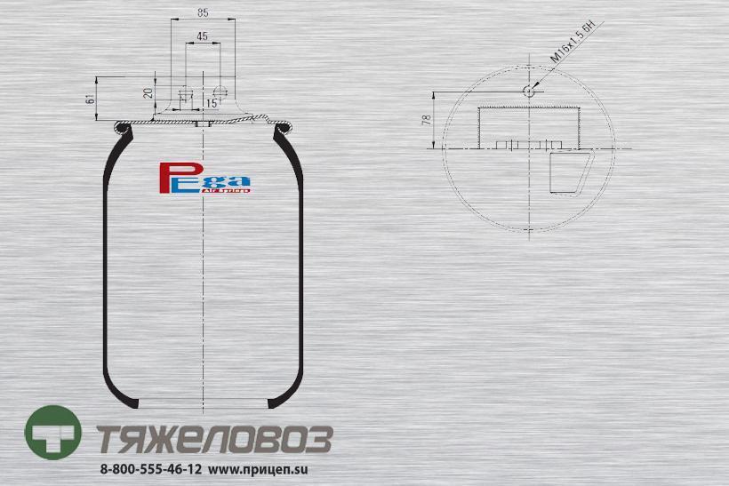Пневморессора Iveco (без стакана, передняя правая) 42559766 (P10.27023.S04)