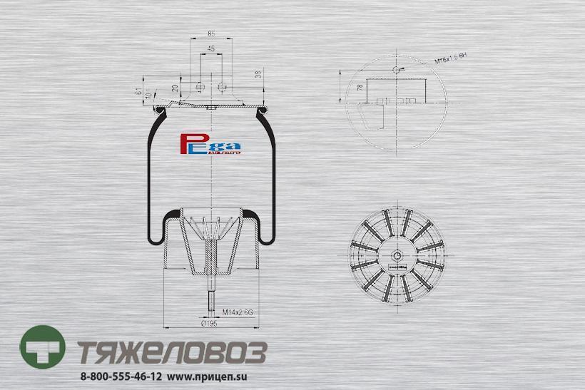 Пневморессора Iveco  (с пластиковым стаканом, передняя левая) 41031242 (P10.27023.CP03)