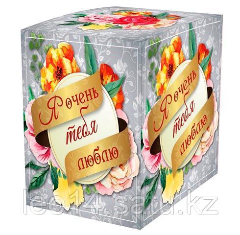 """Подарочная коробка для кружки """"Я очень тебя люблю"""" (100х100х105мм)"""