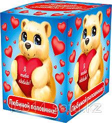 """Подарочная коробка для кружки """"Любимой половинке"""" (100х100х105мм)"""