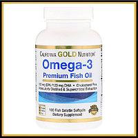 California Gold Nutrition, Omega-3, Premium Fish Oil, 100 капсул