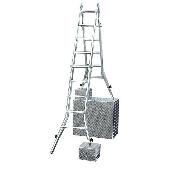 Шарнирная телескопическая лестница с перекладинами и 4 удлинителями боковин TeleVario®