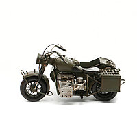 Модель военного мотоцикла с коляской 33X25X16,5 см.