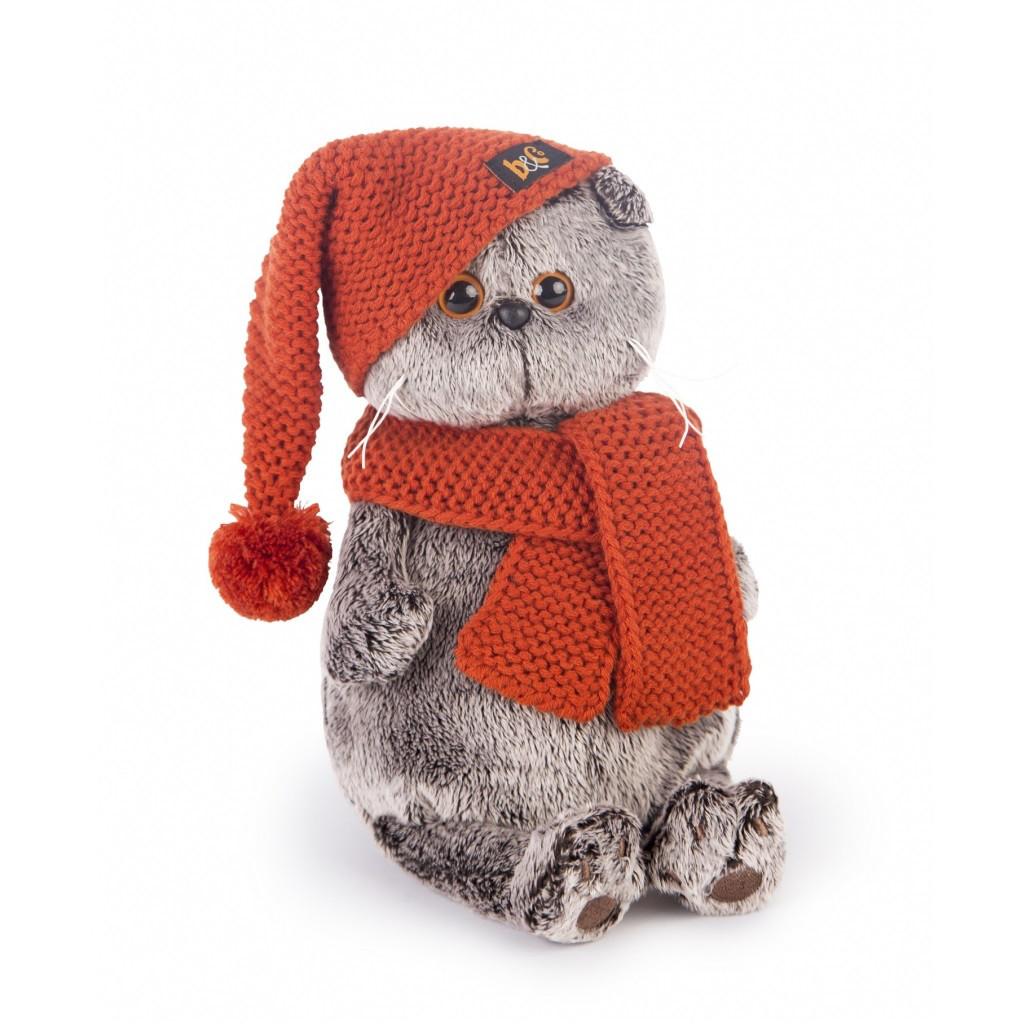 """Мягкая игрушка """"Басик в вязаной шапке и шарфе"""", 19 см"""