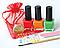 """Набор """"Мерцающий маникюр: Красный, оранжевый, зелёный"""" Лак с ароматом клубники, фото 2"""