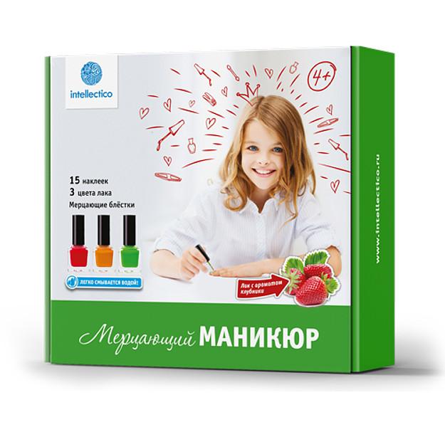 """Набор """"Мерцающий маникюр: Красный, оранжевый, зелёный"""" Лак с ароматом клубники"""