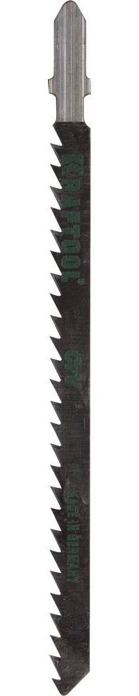 Полотна KRAFTOOL, T301CD, для эл/лобзика, Cr-V, по дереву, ДСП, ДВП, чистый рез, EU-хвост., шаг 4мм, 110мм.