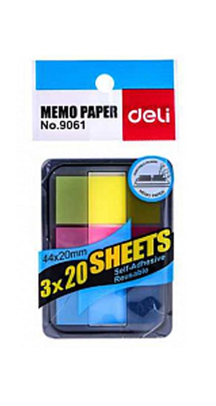 Закладки клейкие DELI, пластиковые, 44 х 20 мм, 3 цвета