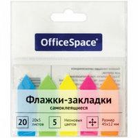 """Закладки клейкие OfficeSpace """"Стрелка"""" 12 х 45 мм, пластиковые, 5 цв х 20 листов"""