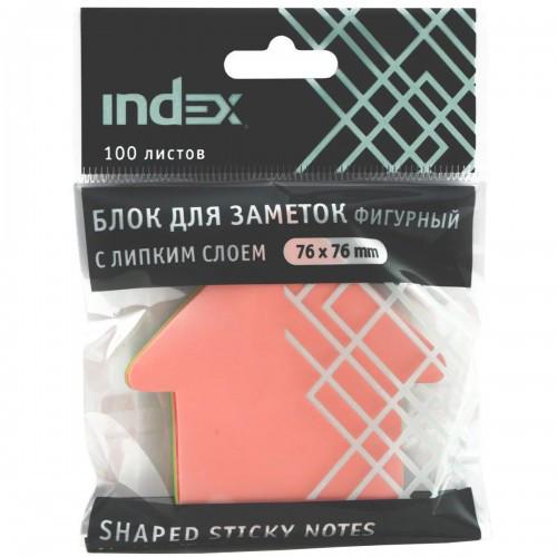 """Клейкие листики INDEX """"Стрелка"""" 76 x 76 мм, 5 цветов, 100 листов"""