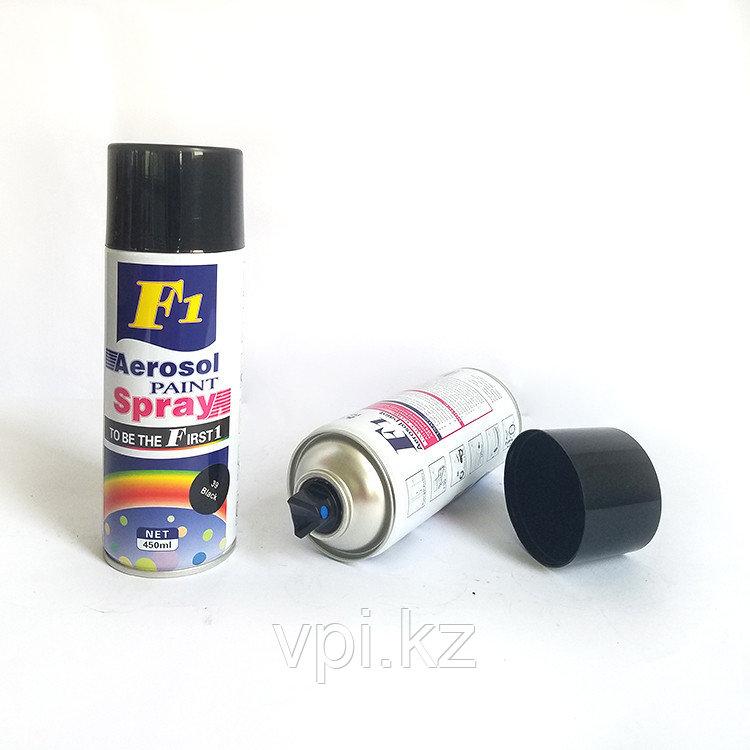 Аэрозольная краска, черная, матовая, #4 450мл. F1