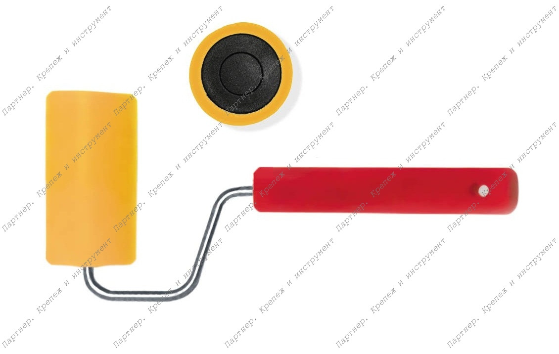 (02983) Валик прижимной для обоев, резиновый желтый, 150 мм
