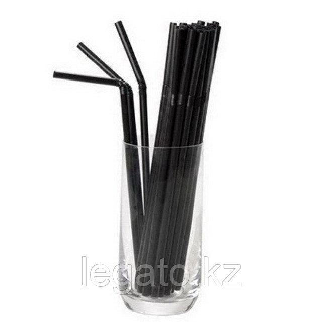 Трубочки д/коктейля 5*210 черные  с гофрой 500шт/уп 15уп/кор в инд.упаковке